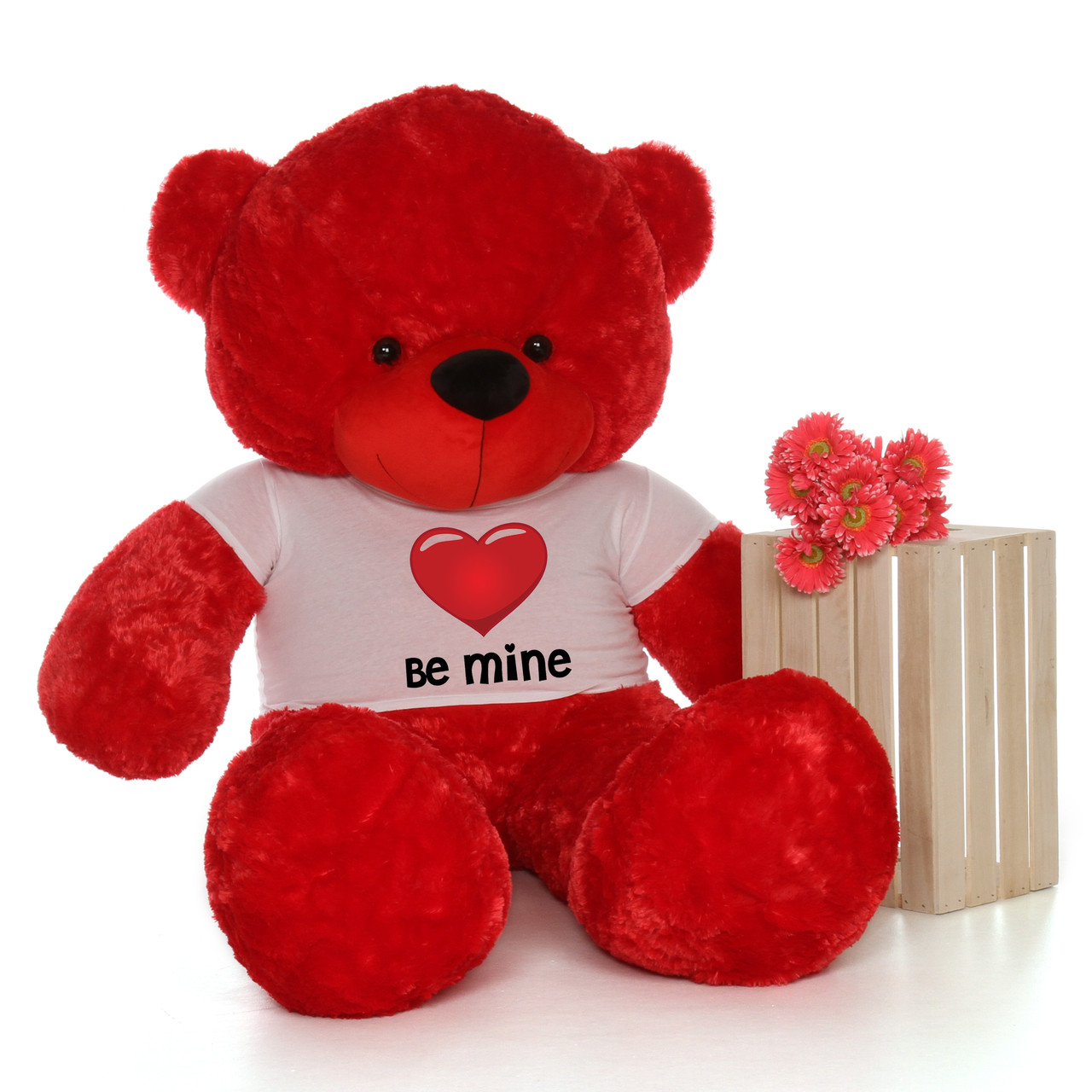 6ft life size valentines day teddy bears in be mine red heart shirts customize your fur color - Giant Teddy Bear For Valentines Day