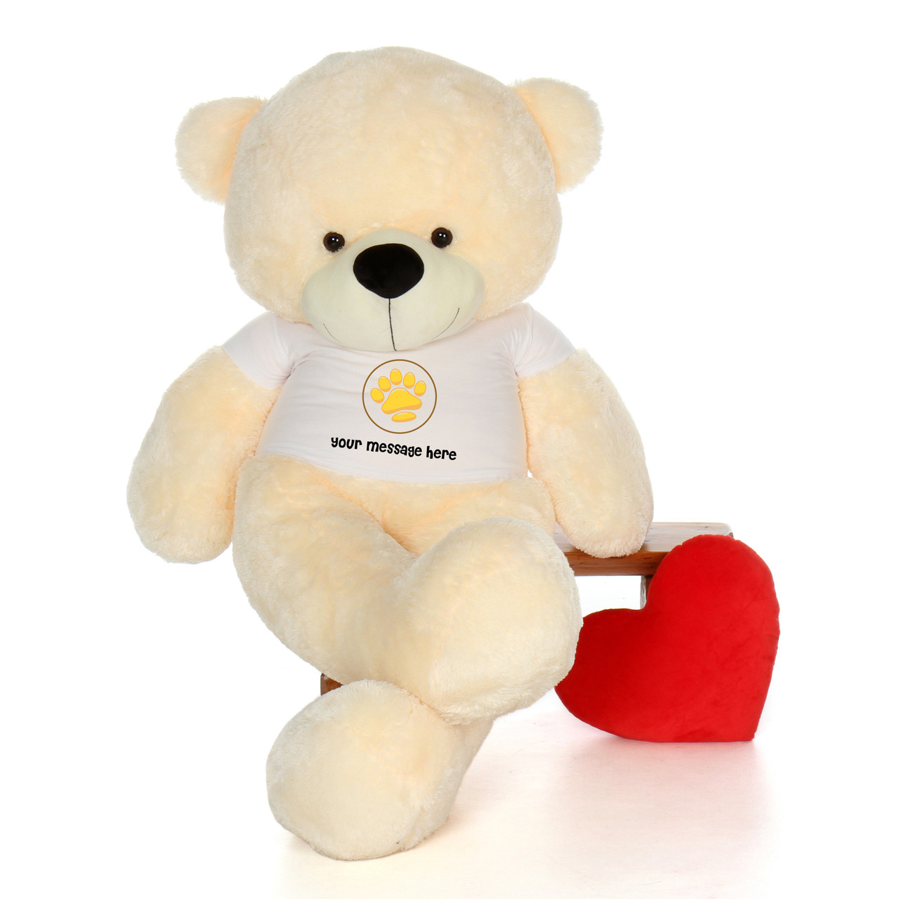 6ft life size personalized teddy bears customize message and your fur color - Giant Teddy Bears For Valentines Day