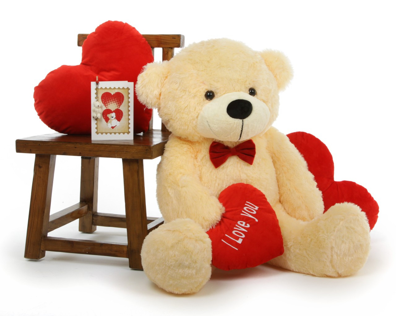 cozy love cuddles with red i love you heart cream teddy bear 38in - Giant Teddy Bear For Valentines Day