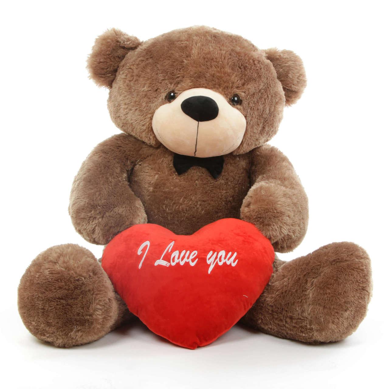 sunny l cuddles 48 mocha teddy bear w i love you heart giant teddy bears. Black Bedroom Furniture Sets. Home Design Ideas