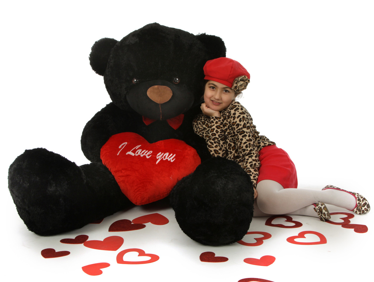 5ft juju cuddles black valentines day teddy bear with red i love you heart huge teddy bear - Giant Teddy Bear For Valentines Day