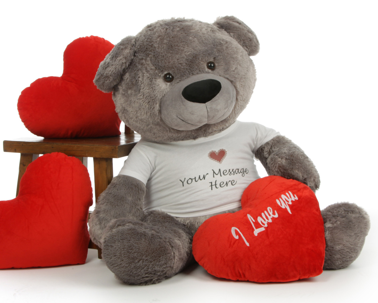 diamond shags personalized valentines day teddy bear with i love you heart pillow - Valentine Day Bears