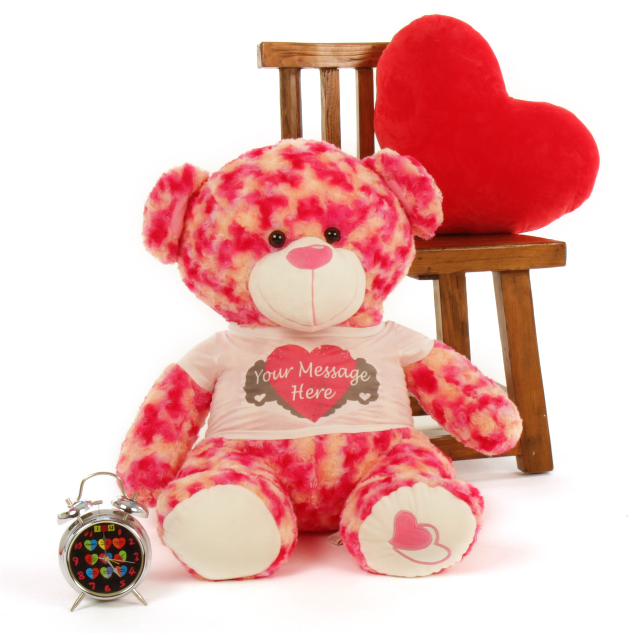 2 ft personalized sassy big love valentines day teddy bear heart pillow clock not included - Giant Teddy Bear For Valentines Day