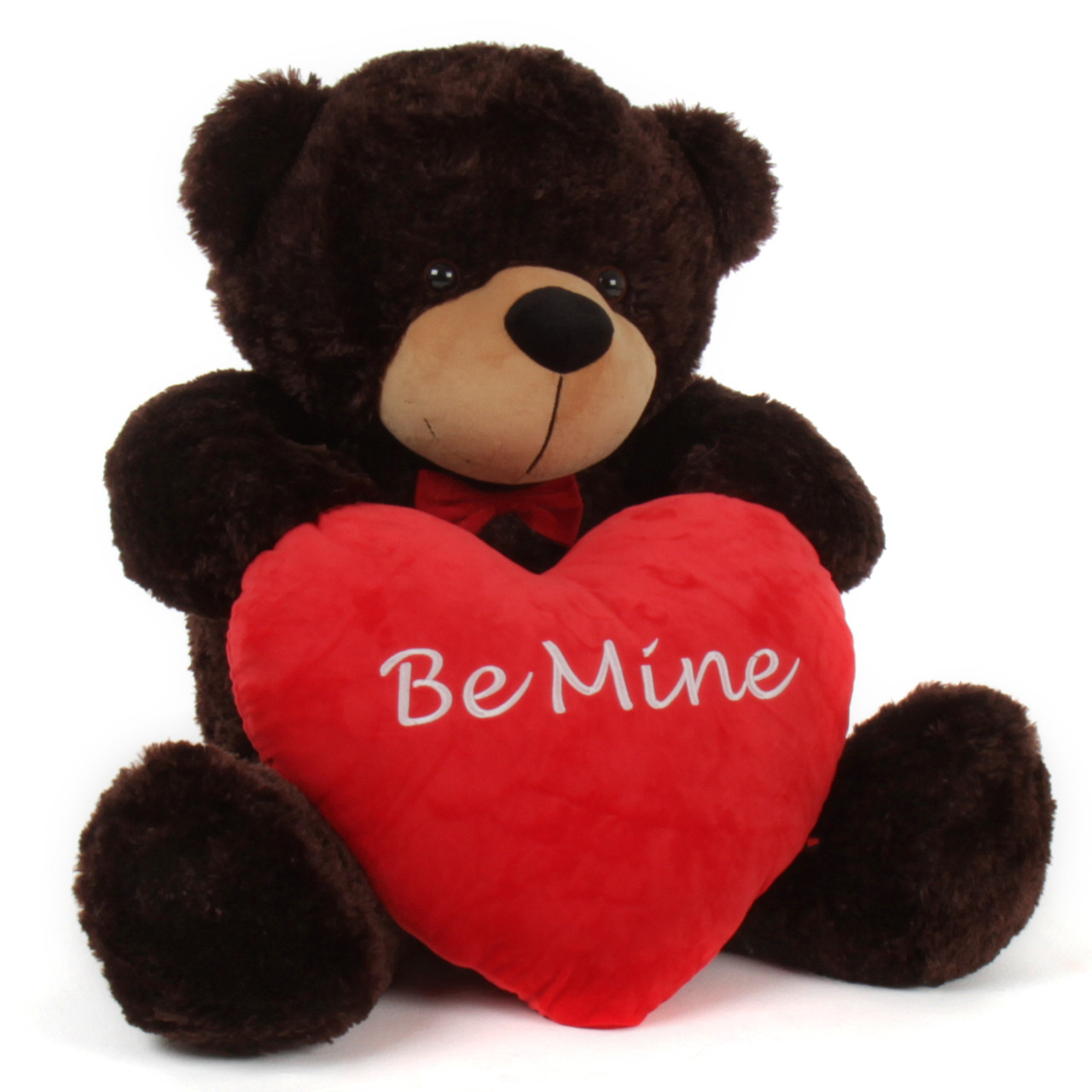 3 foot be mine valentines day teddy beart with red heart pillow - Giant Teddy Bears For Valentines Day