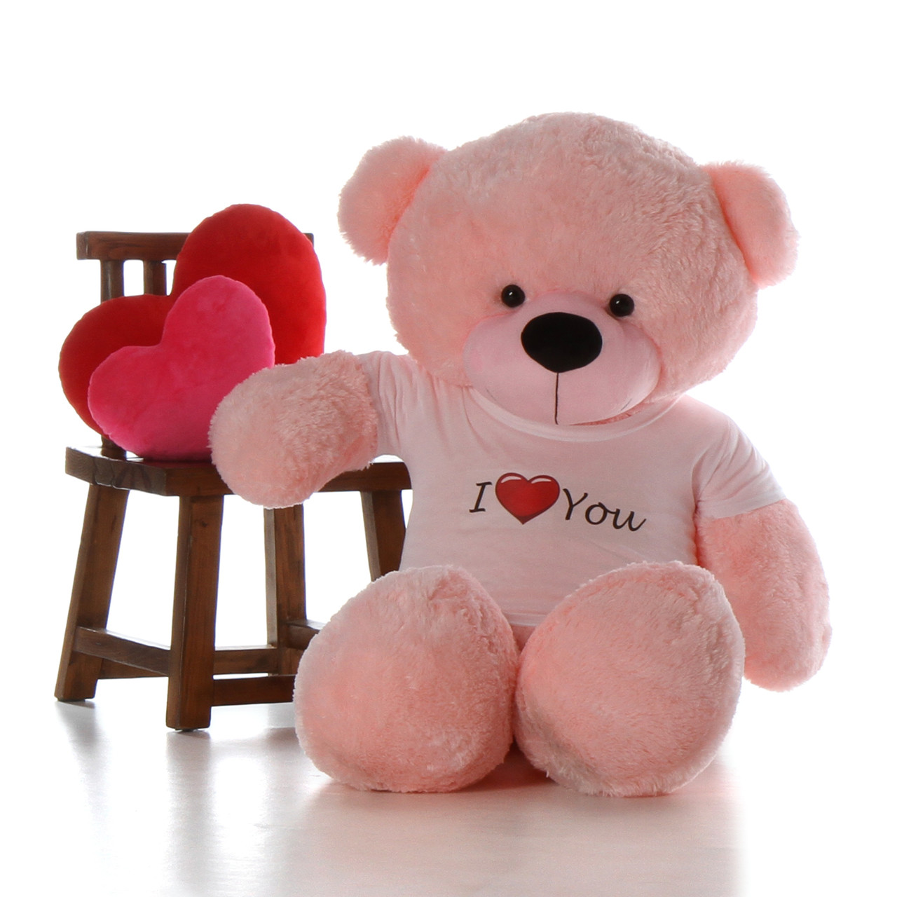 5ft life size giant teddy for valentines day pink lady cuddles with i love you shirt - Giant Teddy Bear For Valentines Day
