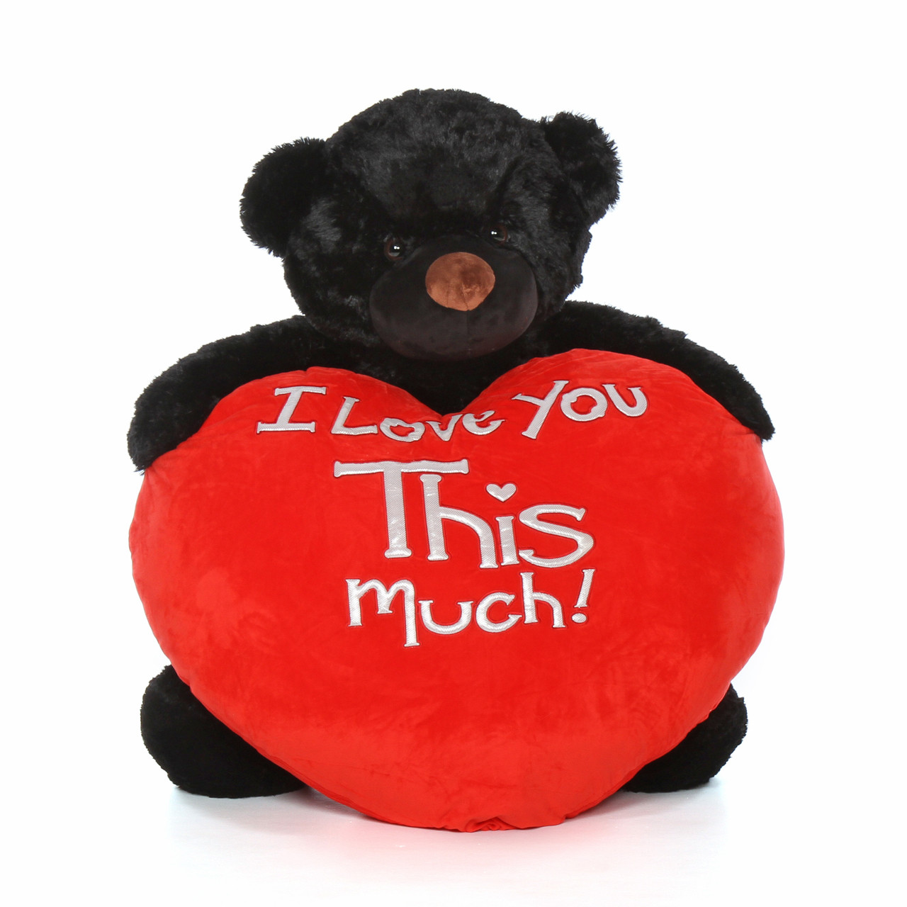 4ft cuddles life size valentines day gift giant teddy bear black fur red plush heart - Giant Teddy Bears For Valentines Day