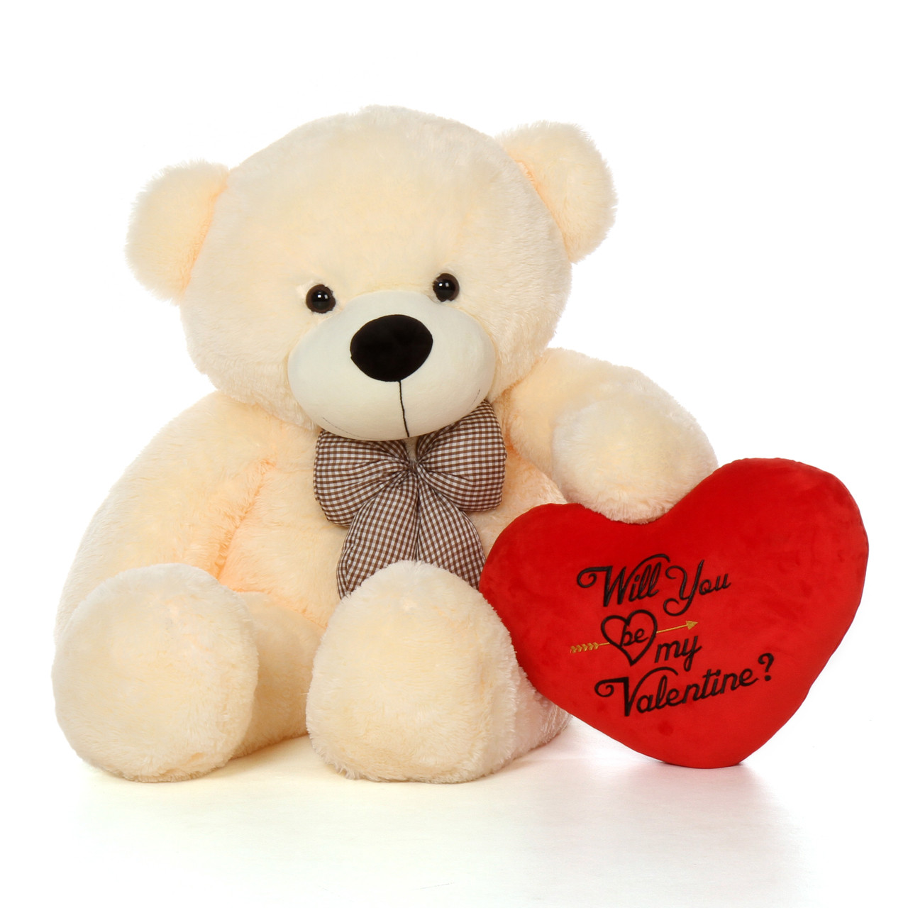 4ft cozy cuddles giant teddy bear w red heart will you be my valentine - Giant Teddy Bears For Valentines Day