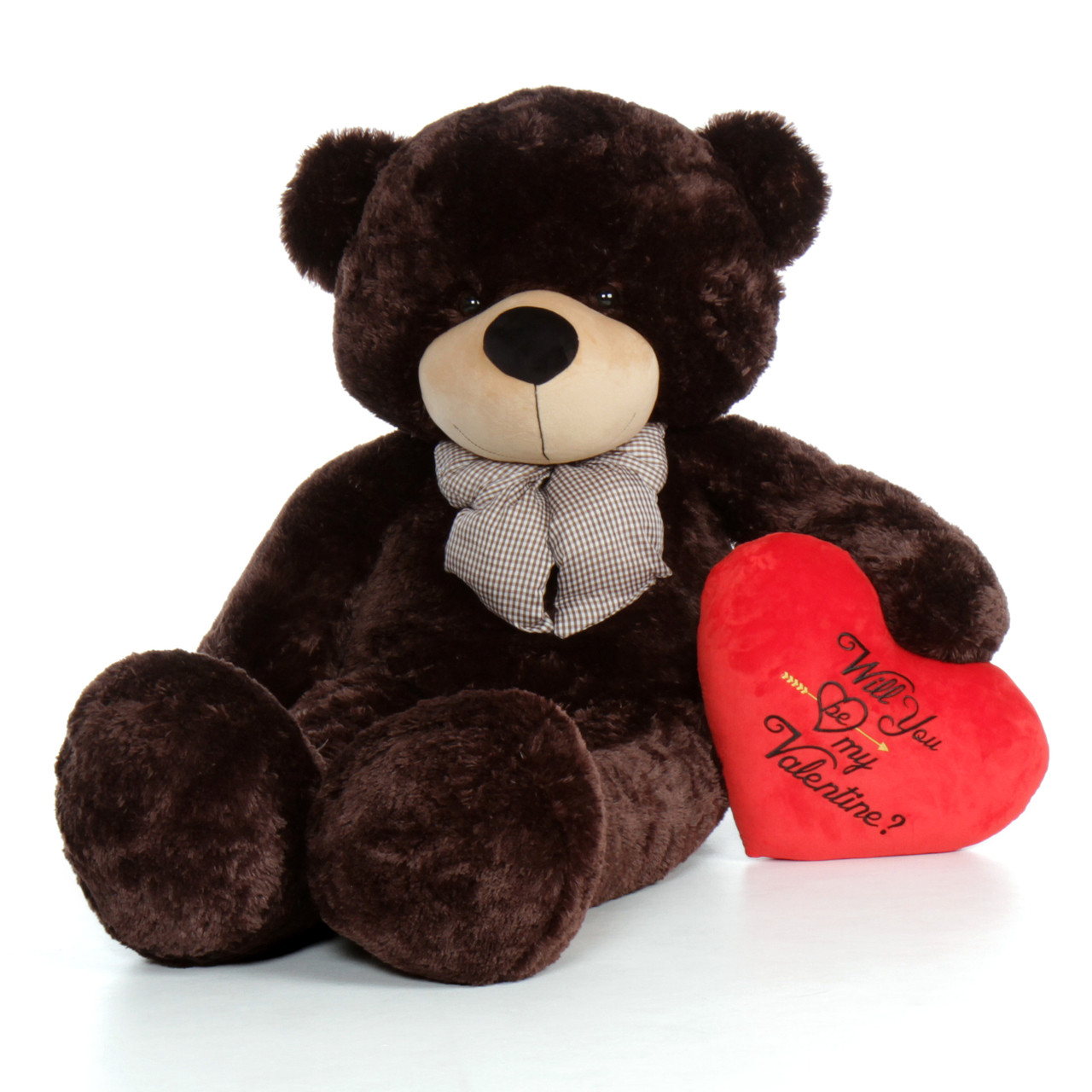 60in chocolate brown valentines day teddy bear brownie cuddles with red heart will you be - Giant Teddy Bear For Valentines Day