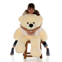 48in Vanilla Cream Cozy Cuddles Big Teddy Bear in Red Heart Happy Valentine's Day T-Shirt (Choose your message)