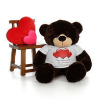 4ft Brownie Cuddles Giant Chocolate Brown Teddy Bear in Red Heart Happy Valentine's Day T-Shirt (Choose your message)