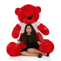 6ft Red Bitsy Cuddles Giant Teddy Bear in Swirling Heart Happy Valentine's Day Shirt