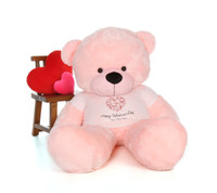 72in Pink Lady Cuddles Giant Teddy Bear in Swirling Heart Happy Valentine's Day Shirt