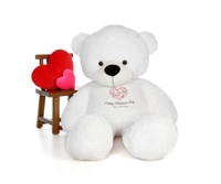 6ft White Coco Cuddles Giant Teddy Bear in Swirling Heart Happy Valentine's Day Shirt