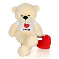 "72"" Vanilla Cream Cozy Cuddles by Giant Teddy in Be Mine Valentine's Day T-Shirt"