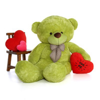 72in Ace Cuddles  Lime Green Teddy Bear with Hug Me heart pillow