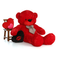 6ft Red Teddy Bear Bitsy Cuddles with Black Kiss Heart pillow