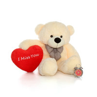 4ft Vanilla Giant Teddy Bear Cozy Cuddles with I Miss You plush heart