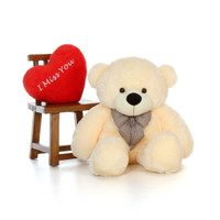 4ft Cozy Cuddles Vanilla Giant Teddy with I Miss You Heart Pillow