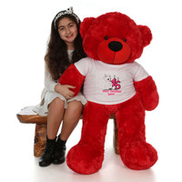 48in Red Bitsy Cuddles Make a Wish Personalized Birthday Teddy Bear