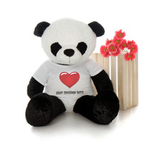 48in Huge Panda Ricky Xiong in Personalized Red Heart shirt