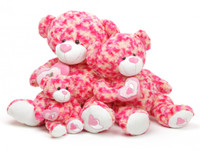 Pink and cream teddy bear 30in