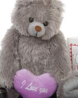 Gimme Some Lovin Bear Hug Care Package Sugar Heart Tubs gray teddy bear 18in