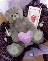 Gimme Some Lovin Bear Hug Care Package Sugar Heart Tubs gray teddy bear 18in Miniature teddy bear pictured is no longer included in this package.