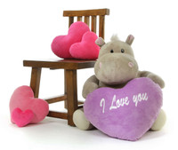 29 inch Sweetheart Plush Hippo with Heart I Love You  - Unique Valentines Day Gift