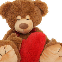 Chester Mittens is a soft cuddly light brown sleepy teddy bear holding a plush red heart – use him as a body pillow! Just waking up... Rough Night!