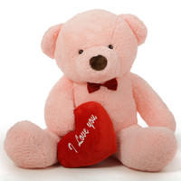 """Romantic and Sweet! 60in Gigi Chubs Teddy Bear for Valentine's Day with big """"I Love You"""" hearts"""