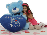 "Marty Shags with a huge ""I Love You This Much!"" royal blue plush heart – 45in (Close Up)"