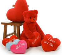 NEW! Scarlet Tubs 32in teddy bear with choice of plush heart pillow designs