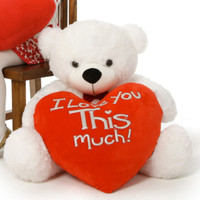"""Coco Cuddles """"I love you This much!"""" heart pillow 38in (Close Up)"""