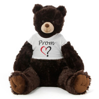 3½ ft Baby Tubs Cuddly Dark Brown Prom Teddy Bear (Prom? - Single Heart)
