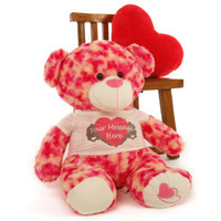 2½ ft Personalized Pink & Cream Valentine's Day Teddy Bear, Sassy Big Love Heart Pillow not included.