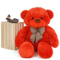 4 foot unbelievably huggable Life Size Teddy Bear Beautiful Orange Red Unique Lovey Cuddles