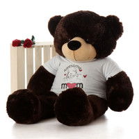 4ft Dark Chocolate Brown Brownie Cuddles in 'Awesome Mom' shirt