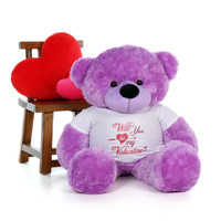 "4ft Life Size Purple Valentine's Day Teddy Bear Dee Dee Cuddles in a ""Will You Be My Valentine?"" XL Shirt"