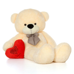 72in Life Size Teddy Bear Vanilla Cozy Cuddles with plush red Happy Valentine's Day I Love You Teddy heart pillow