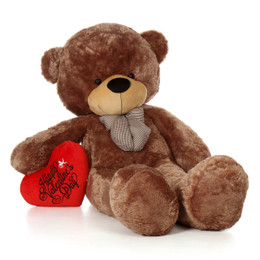 72in Huge Life Size Teddy Bear Mocha Brown Sunny Cuddles with Happy Valentine's Day red heart pillow