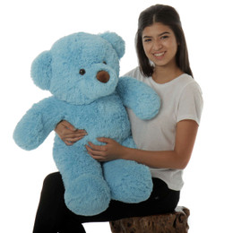 Sammy Chubs Plush and Adorable Sky Blue Teddy Bear 30in