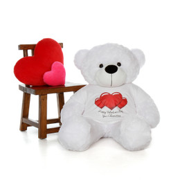 4ft Life Size Teddy Bear wearing customizable Red Heart Happy Valentine's Day shirt and choose your favorite fur color!