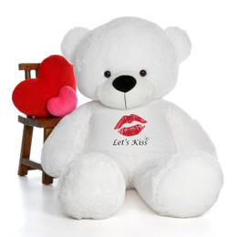 6ft Life Size Valentine's Day Teddy Bears in 'Let's Kiss' shirt - choose your favorite fur color!