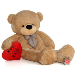 72in Amber Shaggy Cuddles with XOXO red heart pillow