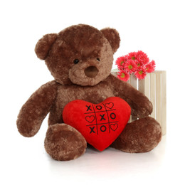 48in Big Life Size Valentine's Day Teddy Bear Mocha Brown Big Chubs with beautiful XOXO red heart pillow