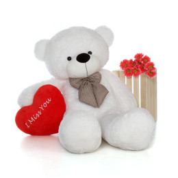 60in Huge Life Size Valentine's Day Teddy Bear White Coco Cuddles with beautiful 'I Miss You' red heart pillow