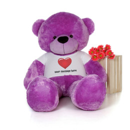 72in Giant Personalized Life Size Valentine's Day Teddy Bear Purple DeeDee Cuddles with red heart shirt