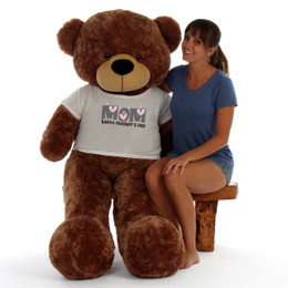 5ft Life Size Teddy Bear wearing Happy Mother's Day shirt – choose your favorite fur color!
