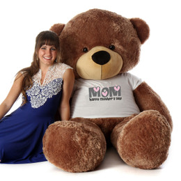 6ft Life Size Teddy Bear wearing Happy Mother's Day shirt – choose your favorite fur color!