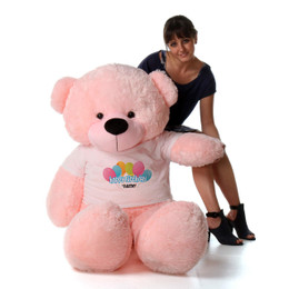 5ft Personalized Happy Birthday Life Size Teddy Bear – choose your favorite fur color!